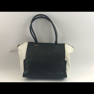 Kenneth Cole B&W leather zipper tote shoulder bag